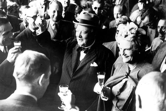 Sir Winston Churchill: in z'n eentje goed voor minimaal 5% van de gehele Britse wijnconsumptie door de eeuwen heen